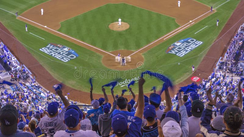 OCTOBER 26, 2018 - LOS ANGELES, CALIFORNIA, USA - DODGER STADIUM: fans celebrate as LA Dodgers defeat Boston Red Sox 3-2 in game 3. The longest game in World stock image