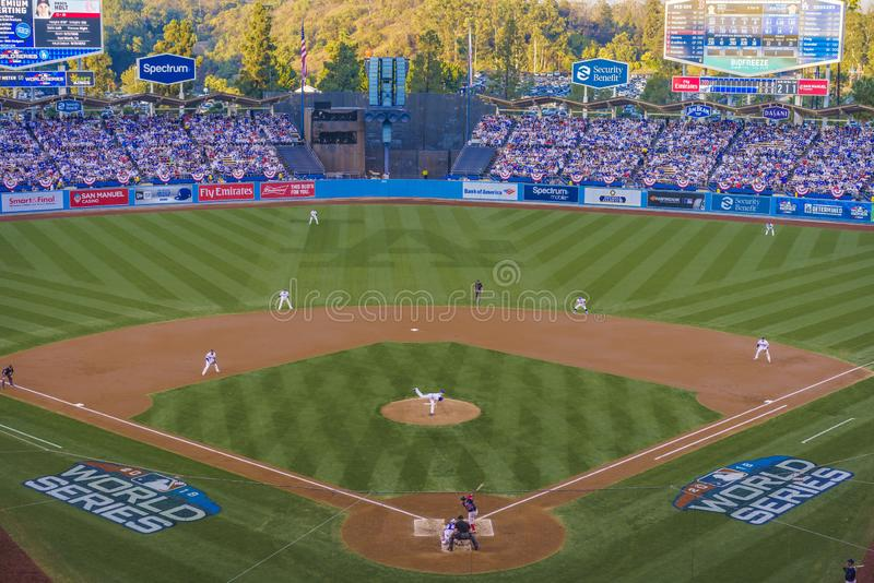 OCTOBER 26, 2018 - LOS ANGELES, CALIFORNIA, USA - DODGER STADIUM: LA Dodgers defeat Boston Red Sox 3-2 in game 3, the longest game. In World Series History - 18 stock image