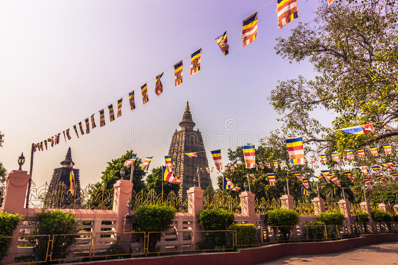 October 30, 2014: Mahadobhi temple in Bodhgaya, India. October 30, 2014: The Mahadobhi temple in Bodhgaya, India stock photography