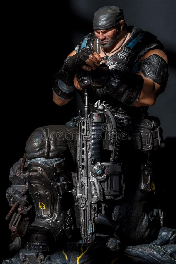 22 October 2019 - Marcus Fenix Collectors Edition Statue from Gears of War 3 a Xbox 360 Exclusive Game. royalty free stock photos