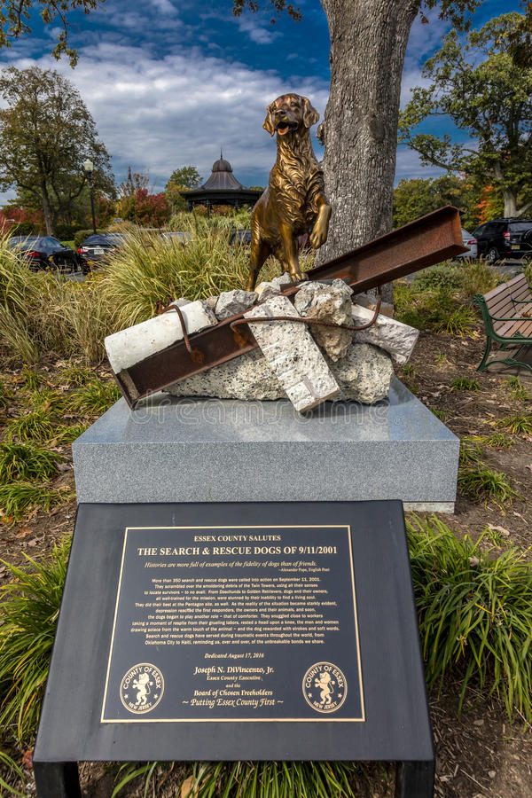 October 16, 2016 - 9/11 Memorial Eagle Rock Reservation in West Orange, New Jersey - portrays 'Search and Rescue Dogs' contributio. N to 9/11 rescue stock image