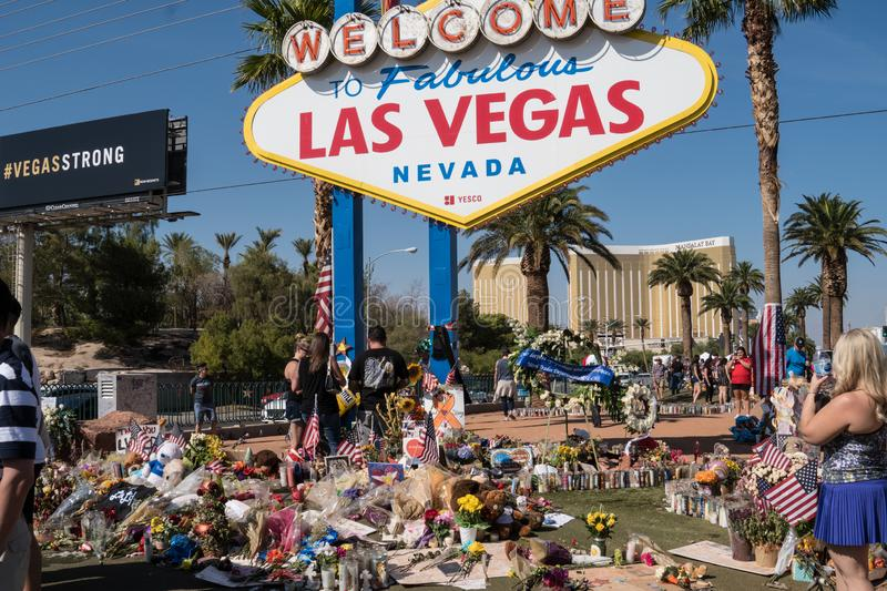 Las Vegas, Nevada - October 13, 2017: A Memorial near the Welcome to Las Vegas sign for Las Vegas Shooting victims on the Las royalty free stock image