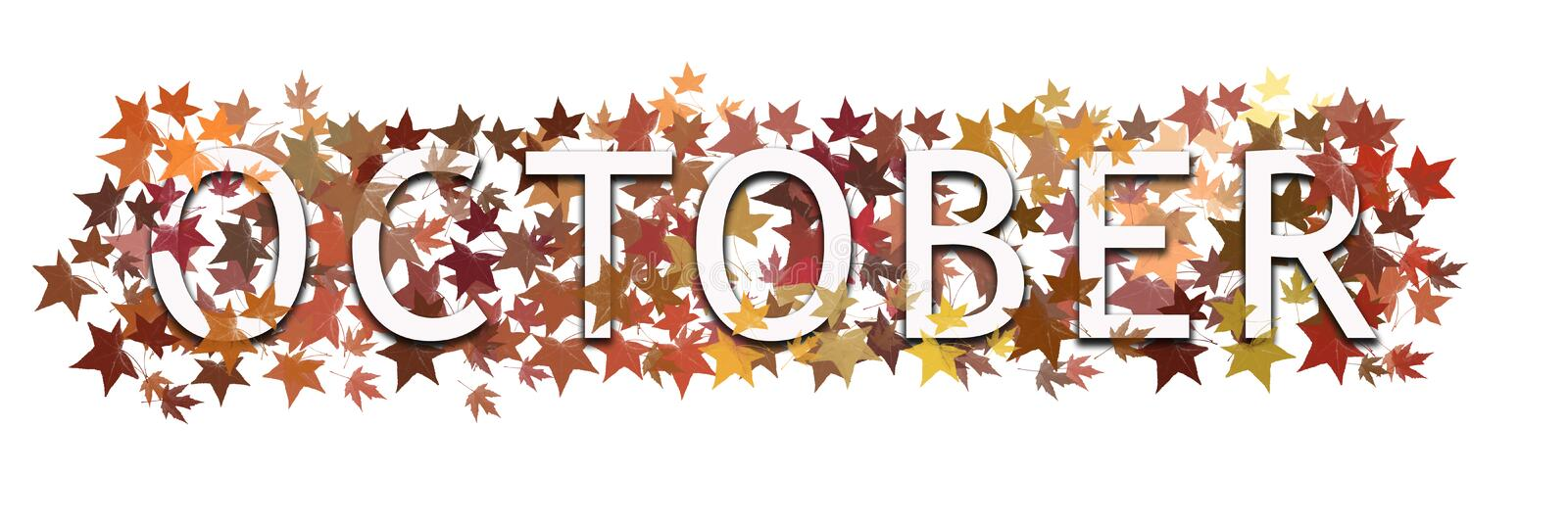 October month text, word wrapped in and layered with autumnal leaves. Isolated on white background. October month text, word wrapped in and layered with royalty free illustration