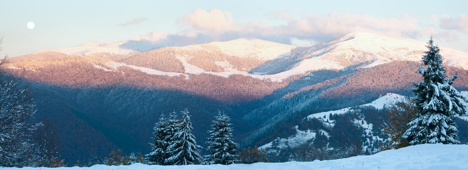 October mountain panorama with first winter snow stock image