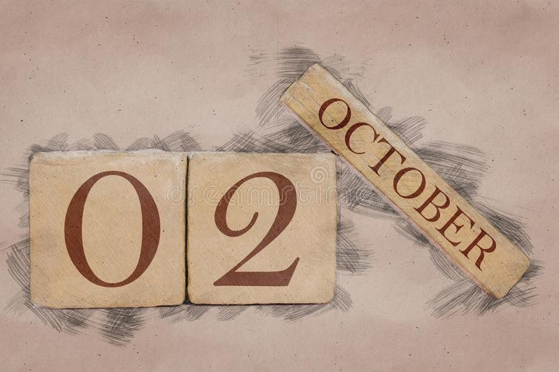 October 2nd. Day 2 of month, calendar in handmade sketch style. pastel tone. autumn month, day of the year concept. October 2nd. Day 2 of month,calendar in royalty free stock images
