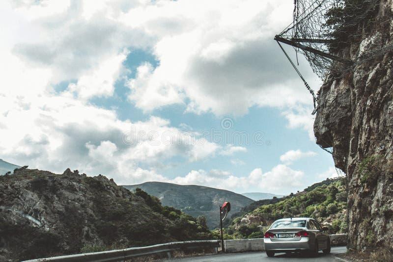 October 2nd, 2017, Topolia, Greece - dangerous mountain road in the Topolia gorge royalty free stock photo