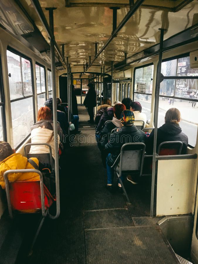 October 20, 2017. Old tram in the city of Kaliningrad stock photography