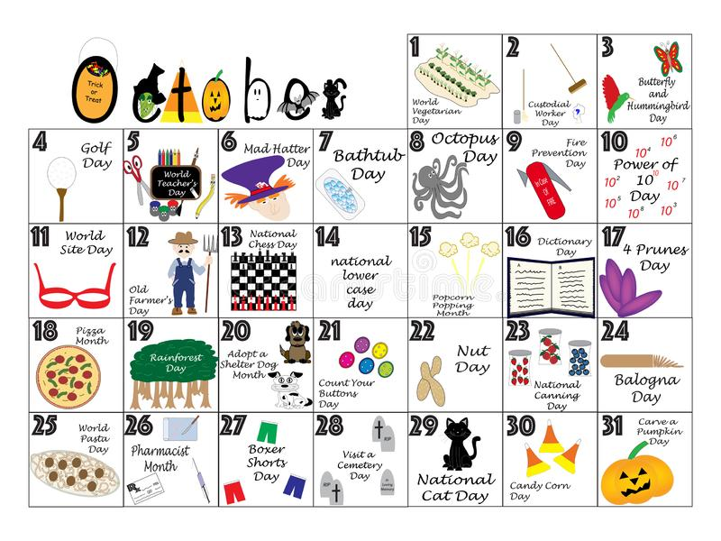 October 2020 Quirky Holidays and Unusual Celebrations Calendar. October 2020 calendar illustrated with daily Quirky Holidays and Unusual Celebrations stock illustration