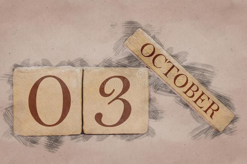October 3rd. Day 3 of month, calendar in handmade sketch style. pastel tone. autumn month, day of the year concept. October 3rd. Day 3 of month,calendar in royalty free stock images
