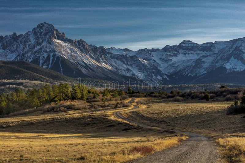 Top of Pines Wilderness Area shows Road to Mount Sneffels stock images