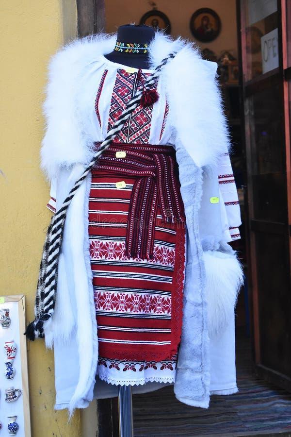 Romanian traditional costume for sale. 10 October 2019, Sighisoara, Mures county, Transylvania, Romania, Europe royalty free stock photos