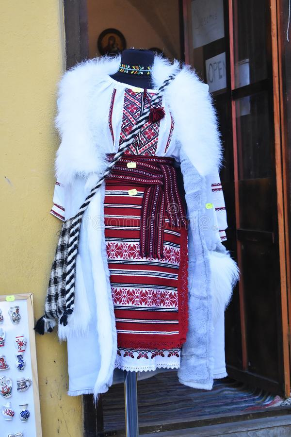 Romanian traditional costume for sale. 10 October 2019, Sighisoara, Mures county, Transylvania, Romania, Europe royalty free stock images