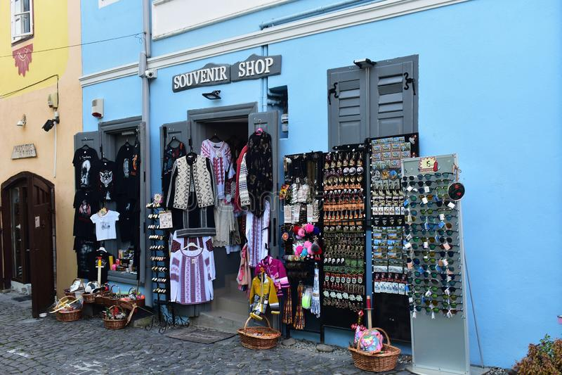 Souvenirs and clothes shop in Sighisoara. 10 October 2019, Sighisoara, Mures county, Transylvania, Romania, Europe royalty free stock image