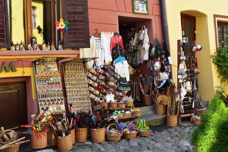 Souvenirs and clothes shop in Sighisoara. 10 October 2019, Sighisoara, Mures county, Transylvania, Romania, Europe stock photos