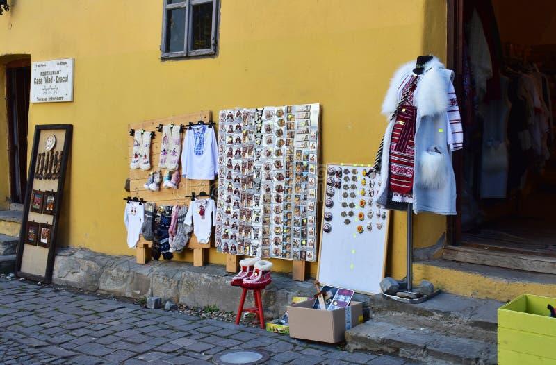 Souvenirs and clothes shop in Sighisoara. 10 October 2019, Sighisoara, Mures county, Transylvania, Romania, Europe stock photo