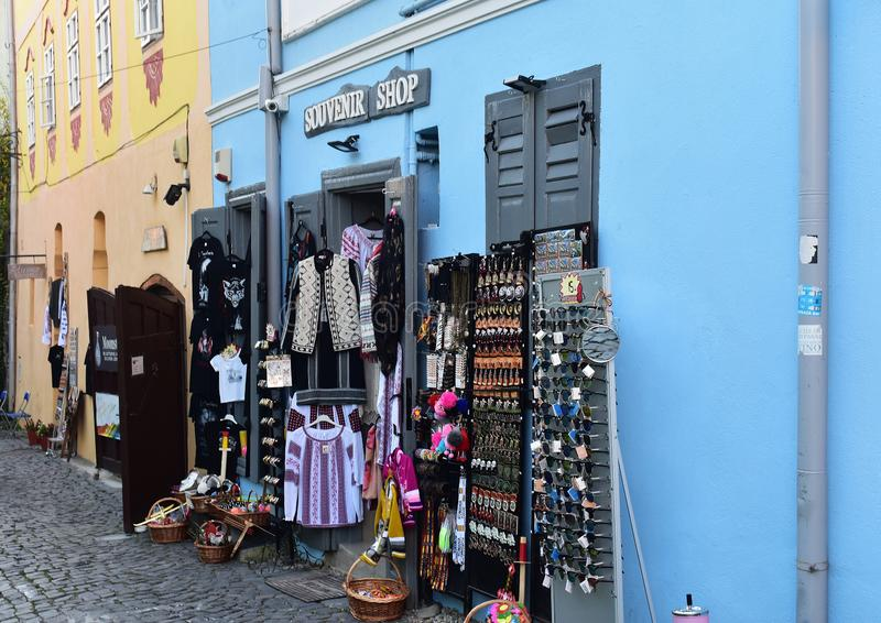 Souvenirs and clothes shop in Sighisoara. 10 October 2019, Sighisoara, Mures county, Transylvania, Romania, Europe royalty free stock photo