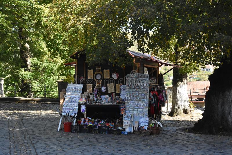 Souvenirs and clothes shop in Sighisoara. 10 October 2019, Sighisoara, Mures county, Transylvania, Romania, Europe royalty free stock photos