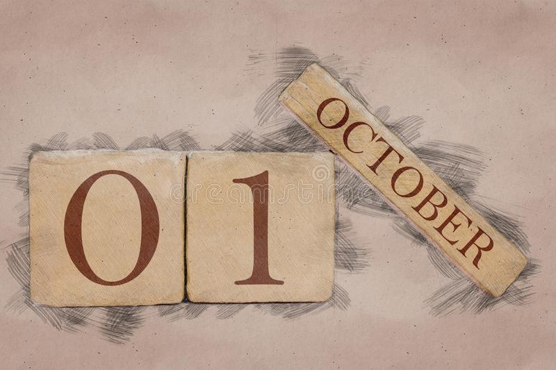 October 1st. Day 1 of month, calendar in handmade sketch style. pastel tone. autumn month, day of the year concept. October 1st. Day 1 of month,calendar in stock image