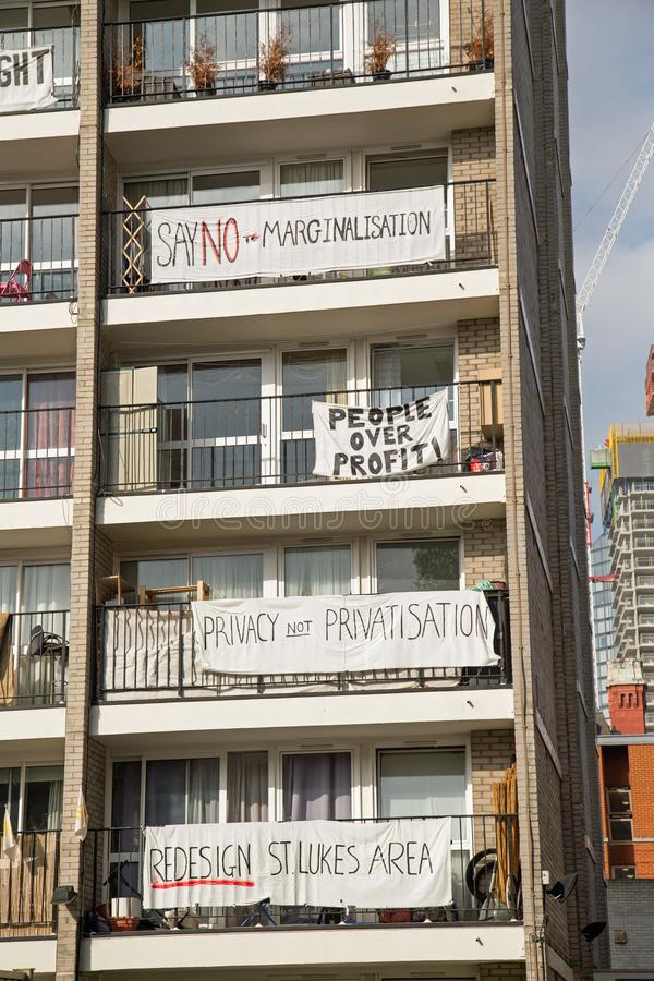 October 2017, St Lukes, Islington London, Tower block residents protest. stock photo