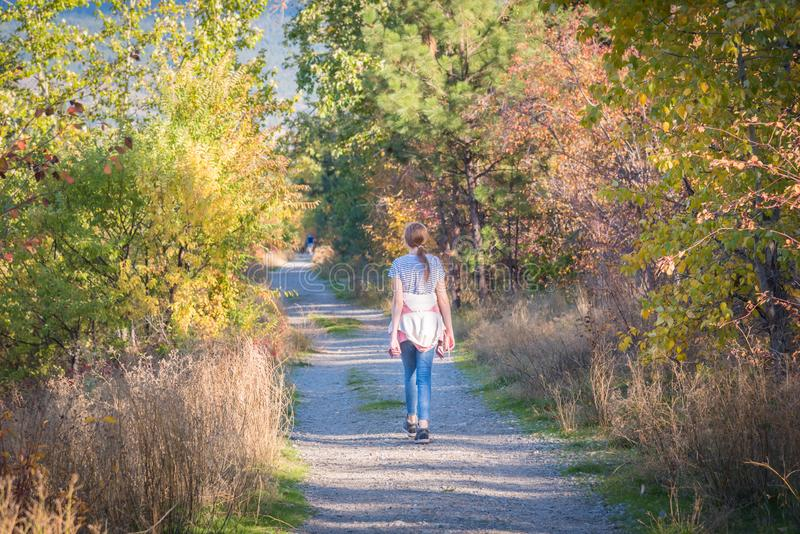 Girl walking on Kettle Valley Rail Trail through forest in autumn stock photo
