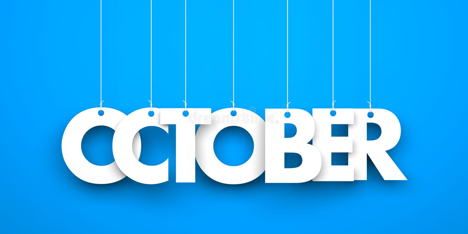 October. Text hanging on the strings royalty free illustration