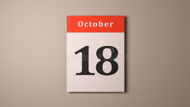 October 18th Alaska Day calendar page cream background. October 18th Alaska Day calendar page royalty free stock images