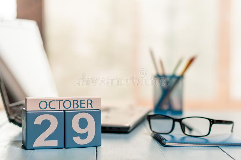 October 29th. Day 29 of month, calendar on editor workspace background. Autumn time. Empty space for text.  royalty free stock images