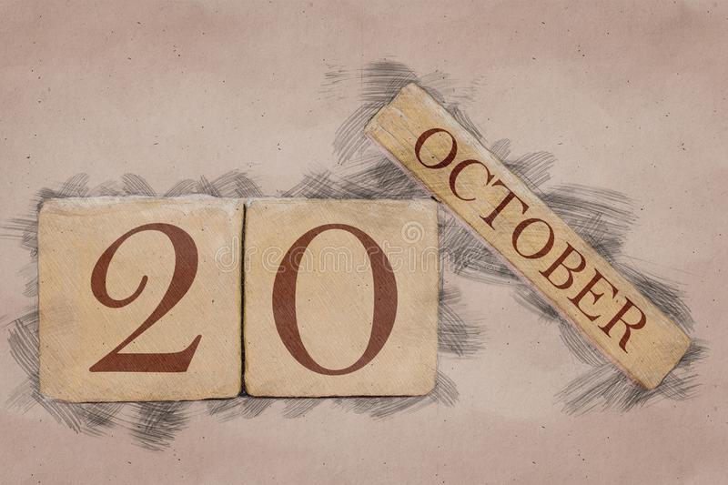 October 20th. Day 20 of month, calendar in handmade sketch style. pastel tone. autumn month, day of the year concept. October 20th. Day 20 of month,calendar in royalty free stock photo