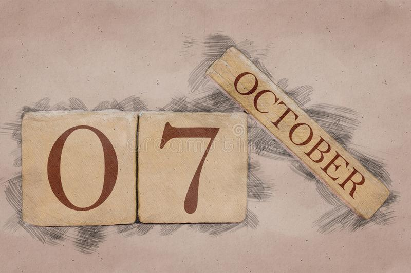 October 7th. Day 7 of month, calendar in handmade sketch style. pastel tone. autumn month, day of the year concept. October 7th. Day 7 of month,calendar in royalty free stock images