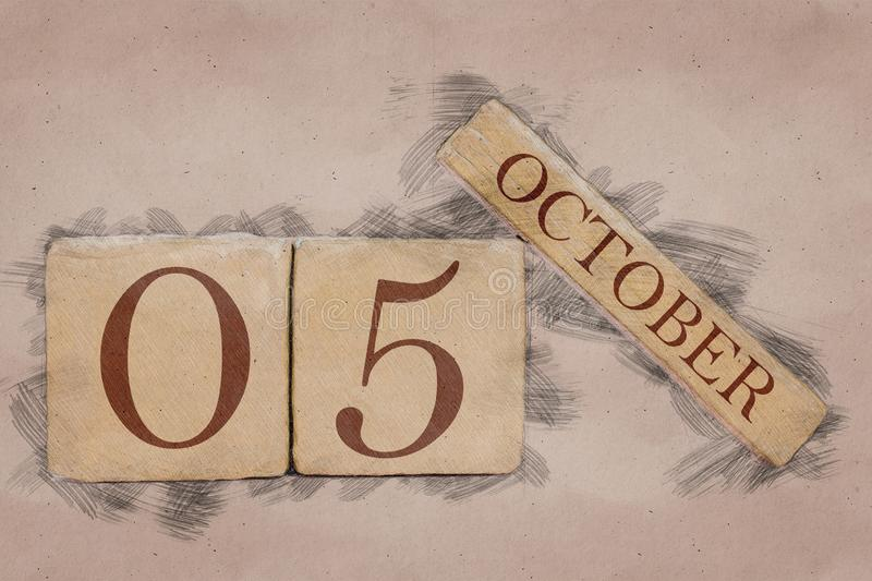 October 5th. Day 5 of month, calendar in handmade sketch style. pastel tone. autumn month, day of the year concept. October 5th. Day 5 of month,calendar in stock photos