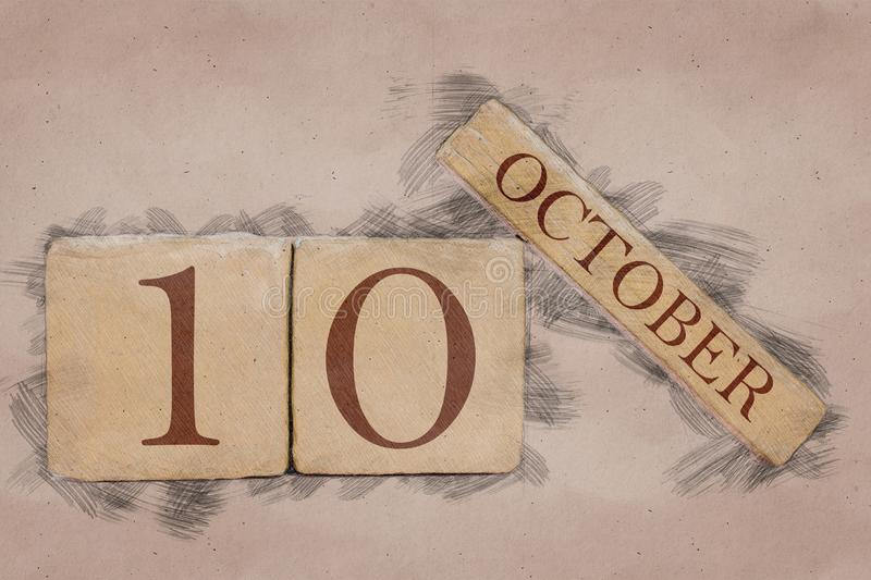 October 10th. Day 10 of month, calendar in handmade sketch style. pastel tone. autumn month, day of the year concept. October 10th. Day 10 of month,calendar in stock photos