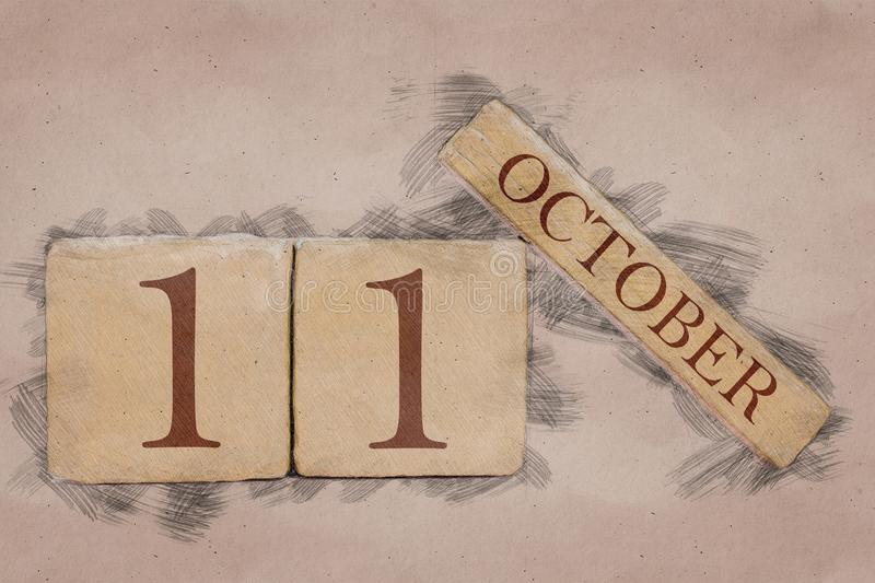 October 11th. Day 11 of month, calendar in handmade sketch style. pastel tone. autumn month, day of the year concept. October 11th. Day 11 of month,calendar in royalty free stock photos