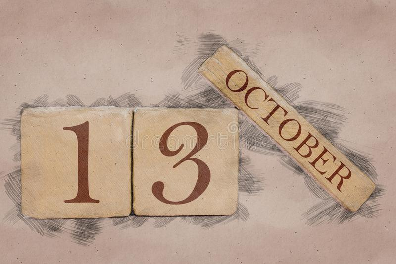 October 13th. Day 13 of month, calendar in handmade sketch style. pastel tone. autumn month, day of the year concept. October 13th. Day 13 of month,calendar in stock images