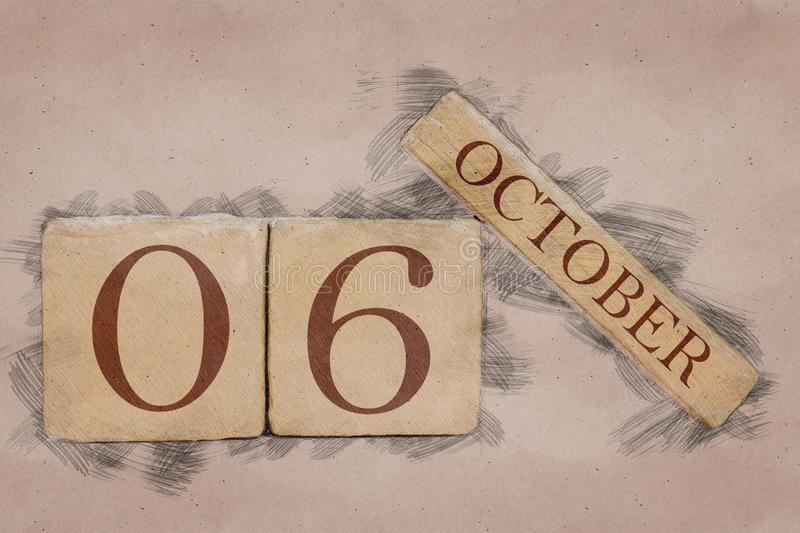 October 6th. Day 6 of month, calendar in handmade sketch style. pastel tone. autumn month, day of the year concept. October 6th. Day 6 of month,calendar in royalty free stock photo