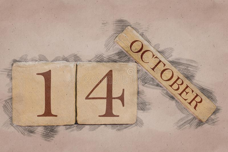 October 14th. Day 14 of month, calendar in handmade sketch style. pastel tone. autumn month, day of the year concept. October 14th. Day 14 of month,calendar in royalty free stock images