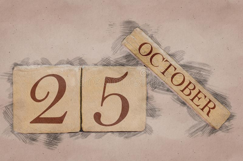 October 25th. Day 25 of month, calendar in handmade sketch style. pastel tone. autumn month, day of the year concept. October 25th. Day 25 of month,calendar in royalty free stock images