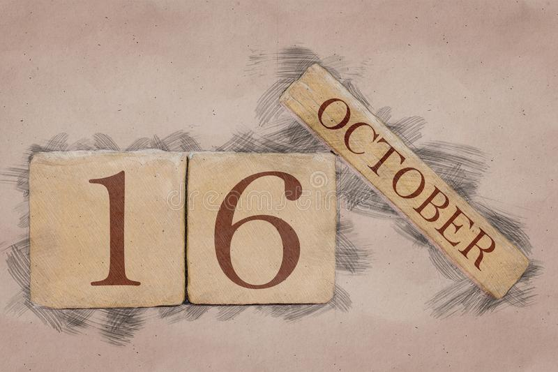 October 16th. Day 16 of month, calendar in handmade sketch style. pastel tone. autumn month, day of the year concept. October 16th. Day 16 of month,calendar in stock image