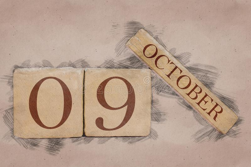 October 9th. Day 9 of month, calendar in handmade sketch style. pastel tone. autumn month, day of the year concept. October 9th. Day 9 of month,calendar in royalty free stock photography