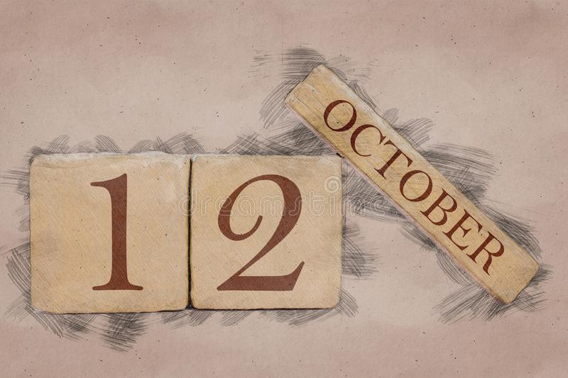 October 12th. Day 12 of month, calendar in handmade sketch style. pastel tone. autumn month, day of the year concept. October 12th. Day 12 of month,calendar in stock photos