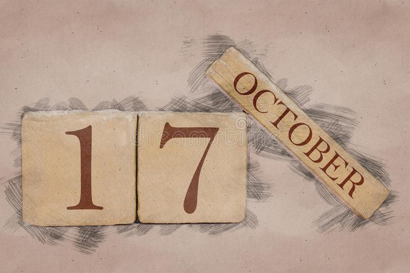 October 17th. Day 17 of month, calendar in handmade sketch style. pastel tone. autumn month, day of the year concept. October 17th. Day 17 of month,calendar in stock photography