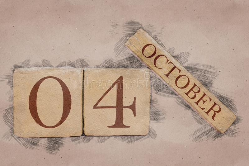 October 4th. Day 4 of month, calendar in handmade sketch style. pastel tone. autumn month, day of the year concept. October 4th. Day 4 of month,calendar in royalty free stock image