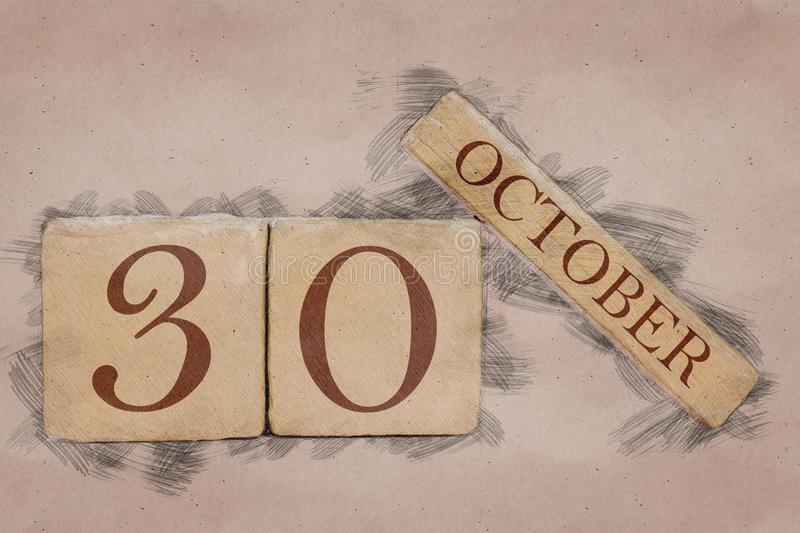 October 30th. Day 30 of month, calendar in handmade sketch style. pastel tone. autumn month, day of the year concept. October 30th. Day 30 of month,calendar in stock images