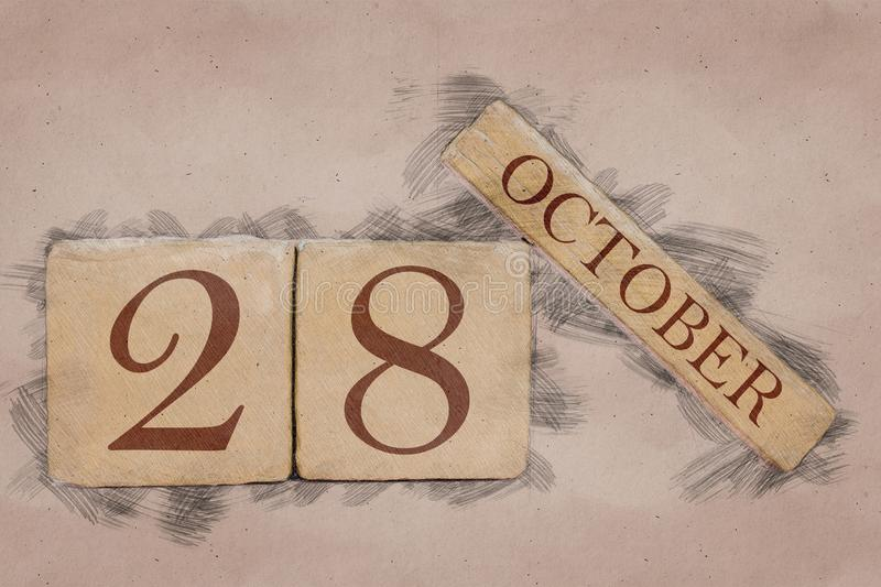 October 28th. Day 28 of month, calendar in handmade sketch style. pastel tone. autumn month, day of the year concept. Time, light, background, date, number stock photos