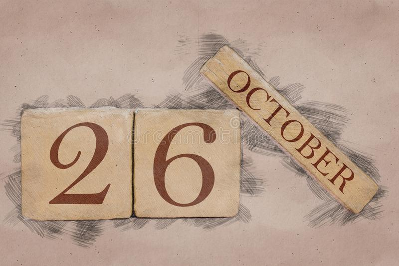 October 26th. Day 26 of month, calendar in handmade sketch style. pastel tone. autumn month, day of the year concept. October 26th. Day 26 of month,calendar in royalty free stock photos