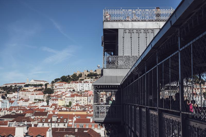 Lisbon, Portugal - The Santa Justa Lift, also called Carmo Lift, is an elevator in the civil parish of Santa Justa stock images