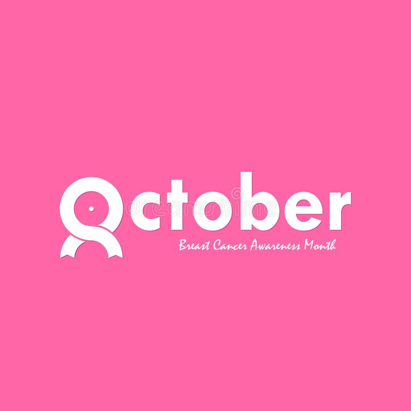 October typographical & ribbon icon.Breast Cancer October Awareness Month Typographical Campaign Background.Women health vector d. Esign.Breast cancer awareness stock illustration
