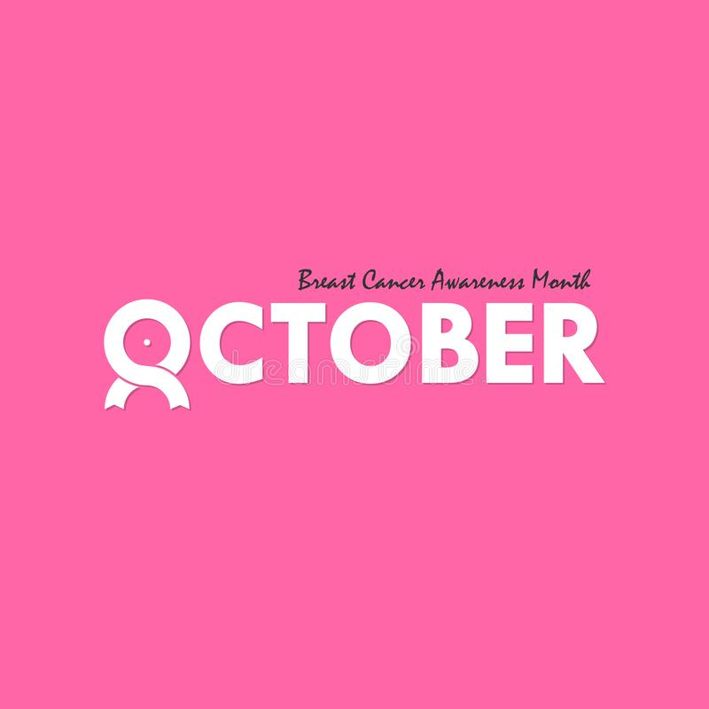 October typographical & ribbon icon.Breast Cancer October Awareness Month Typographical Campaign Background.Women health vector d. Esign.Breast cancer awareness vector illustration