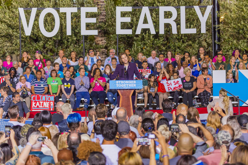 OCTOBER 12, 2016, US Senate Candidate Catherine Cortez Masto introduces Democratic Candidate Hillary Clinton campaign at the Smith. Center for the Arts, Las stock image