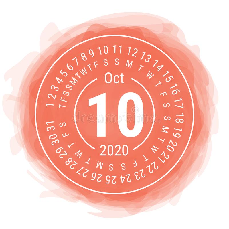 October 2020. Vector English сalendar. Watercolor kid`s sketch doodle style. Color hand drawn frame. Round calender. Smoky circl. E royalty free illustration