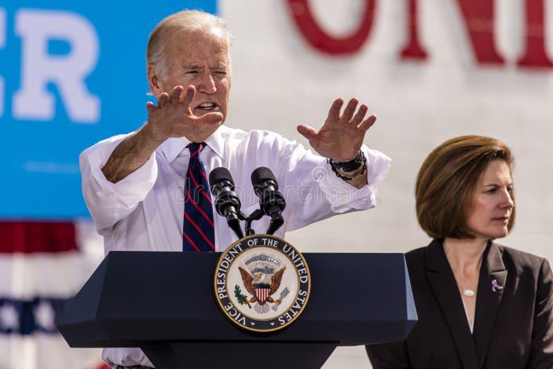 OCTOBER 13, 2016: Vice President Joe Biden campaigns for Nevada Democratic U.S. Senate candidate Catherine Cortez Masto and presid royalty free stock photos